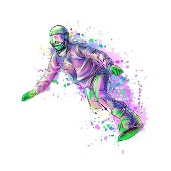 Абстрактный сноубордист из всплеска акварели, рисованной эскиз. иллюстрация красок