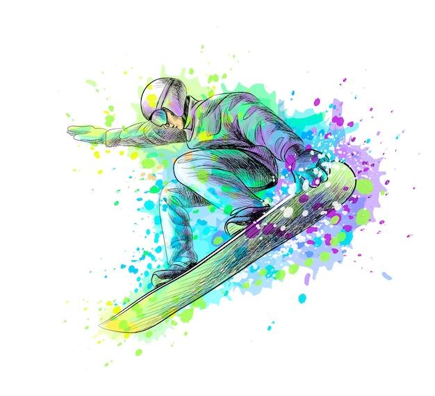 水彩のスプラッシュからスノーボーダーを抽象化、手描きのスケッチ。塗料のイラスト