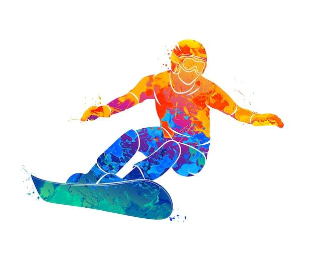 水彩画のスプラッシュから抽象的なスノーボーダー。塗料のイラスト。