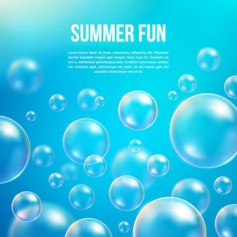 抽象的なシャボン玉の背景。透明な円、球球、水海と海のパターン