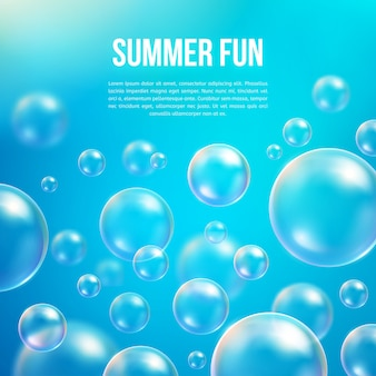 Abstract soap bubbles  background. transparent circle, sphere ball, water sea and ocean pattern
