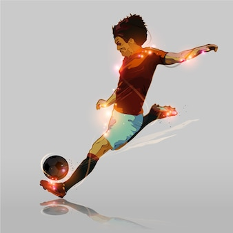 Abstract soccer hard shooting