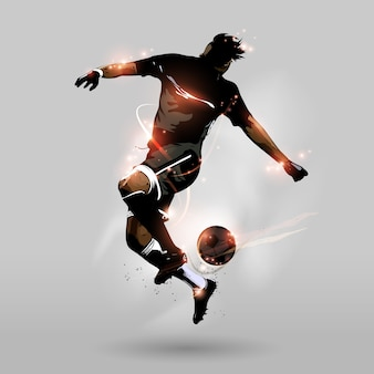 Abstract soccer jumping touch ball