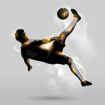 Abstract soccer overhead kick