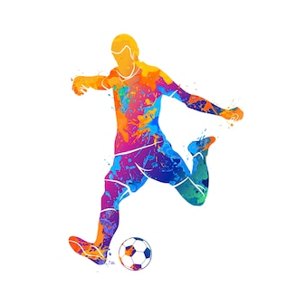 Abstract soccer player quick shooting a ball from splash of watercolors. illustration of paints.