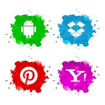 추상 소셜 미디어 아이콘 세트 디자인
