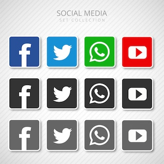 Abstract social media icons set collection vector