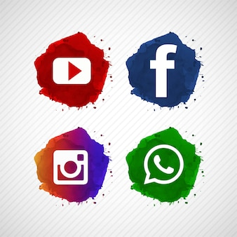 Abstract social media icons set design