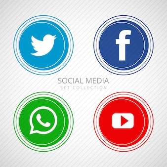 Abstract social media icons set illustration