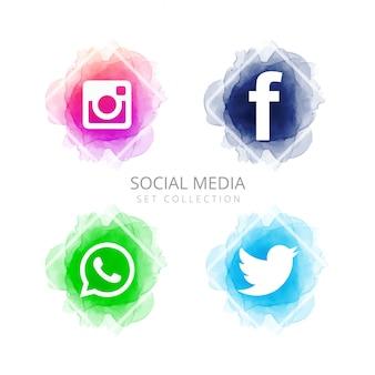 Abstract social media icons set vector
