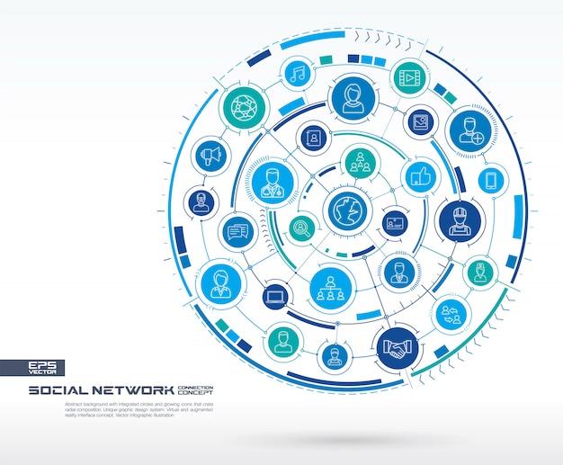 ソーシャルネットワークの抽象的な背景。デジタル接続システム、統合された円、光る細い線のアイコン。メディアシステムグループ、インターフェイスの概念。将来のインフォグラフィックイラスト