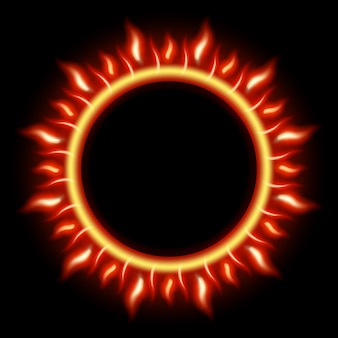 Abstract solar eclipse burning fire circle.