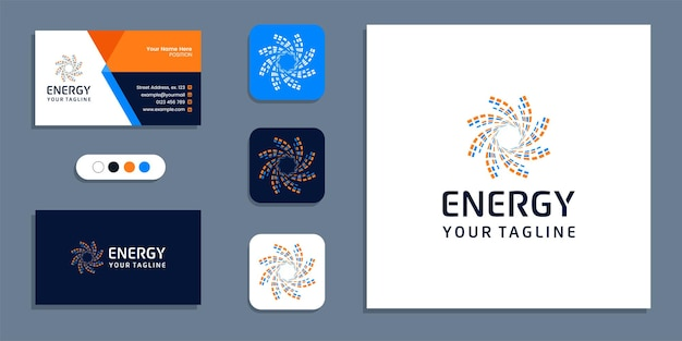 Abstract solar round shape, energy logo and business card design inspiration template