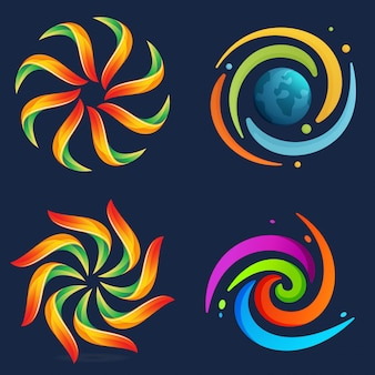 Abstract solar system set.