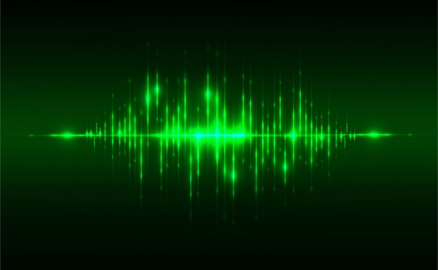Abstract sound background concept linear and polygonal pattern shapes on dark green
