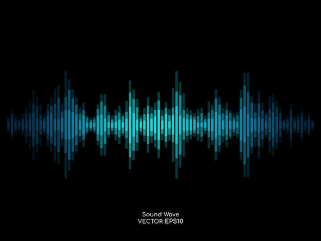 Abstract sound wave stripe lines blue green equalizer isolated on black background.