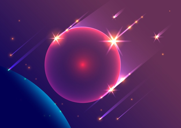 Abstract space background falling meteorites and planet.