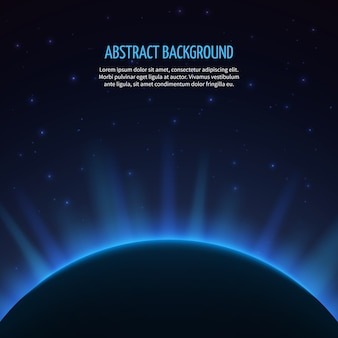 Abstract space background with planet and rising sun. galaxy and earth, sunrise astronomy, vector illustration