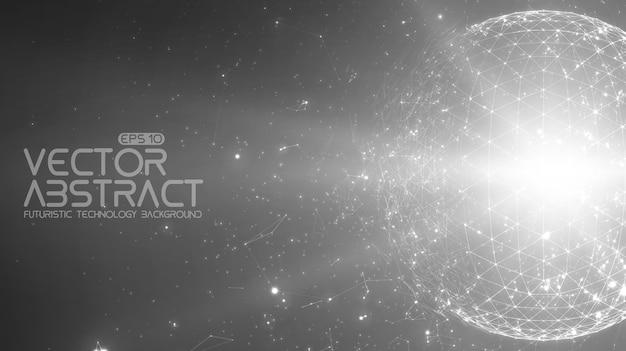 抽象的な空間のモノクロの背景。宇宙を飛んでいる無秩序に接続されたポイントとポリゴン。飛んでいる破片。未来のテクノロジースタイル。