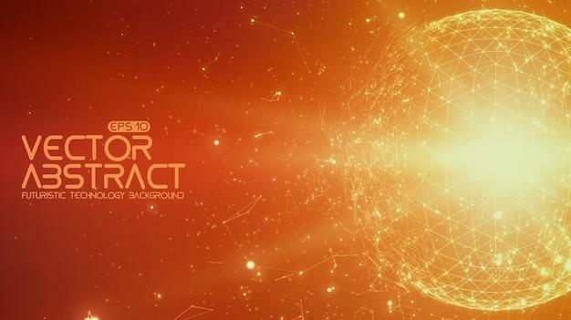 抽象的なスペースオレンジ色の背景。宇宙を飛んでいる無秩序に接続されたポイントとポリゴン