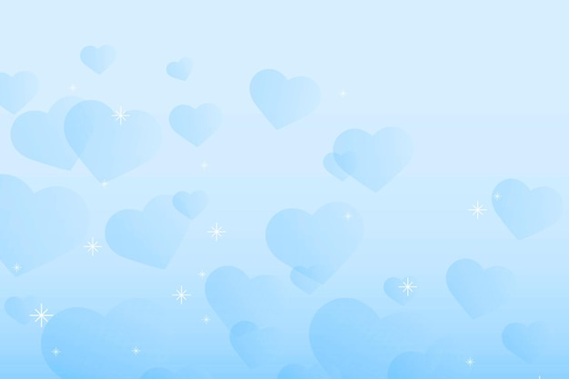 Abstract sparkle blue hearts background