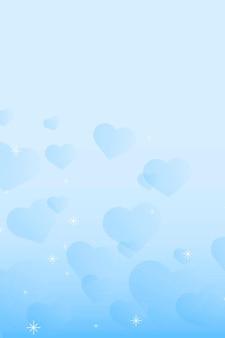抽象的な輝きのハート パターンの青い背景