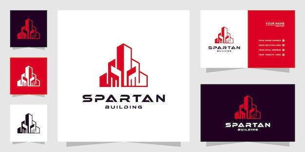 로고 영감을 위한 라인 아트 개념 도시 건물 추상이 있는 추상 스파르타 건물 로고