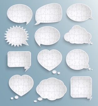 Абстрактные речи пузыри с кусочками бумаги головоломки