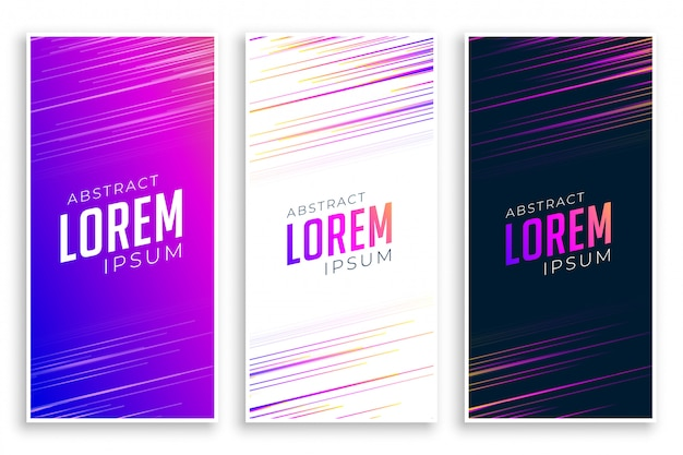 Abstract speed lines banners set