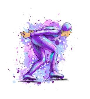 水彩絵の具のスプラッシュから抽象的なスピードスケーター。ウィンタースポーツショートトラック。塗料のイラスト