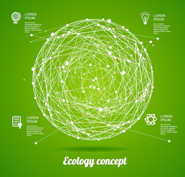 緑の背景に分離された輝きのポイントを持つ抽象的な球円エコロジーコンセプト
