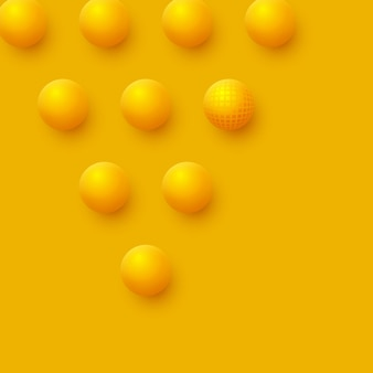 Abstract spheres background. 3d yellow balls.