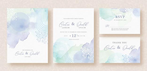 結婚式の招待状に抽象的なスプラッシュと形の水彩画