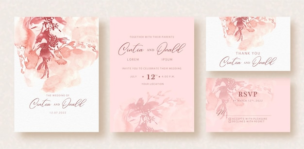 Abstract splash floral shapes watercolor background on wedding card