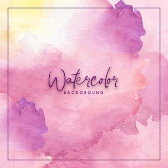 Abstract splash mixed purple yellow watercolor