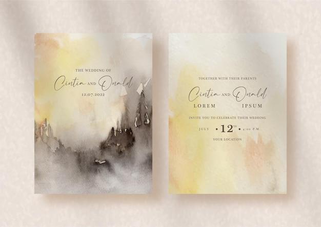 結婚式の招待状に抽象的なスプラッシュ混合水彩画