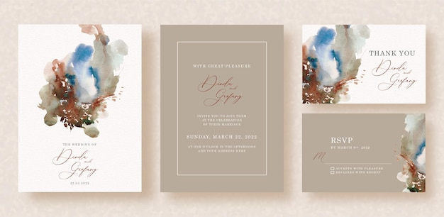 Abstract splash mixed watercolors on wedding invitation background