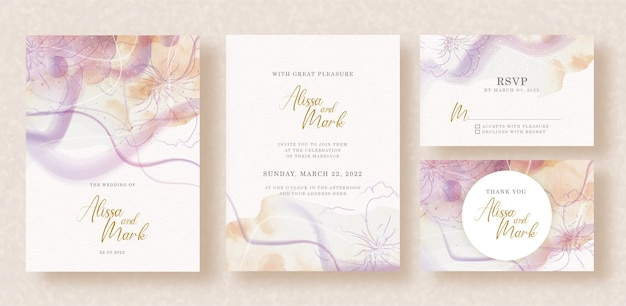 Abstract splash and shapes brushstrokes watercolor on wedding invitation card