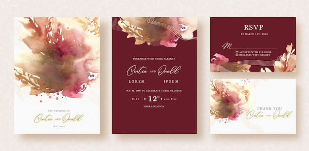 赤い結婚式の招待状に抽象的なスプラッシュ水彩画