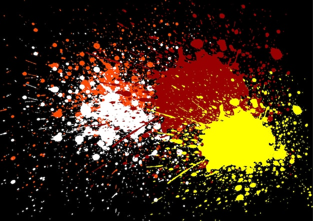 Abstract splatter orange white red and yellow color background