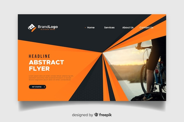 Abstract sport landing page with photo