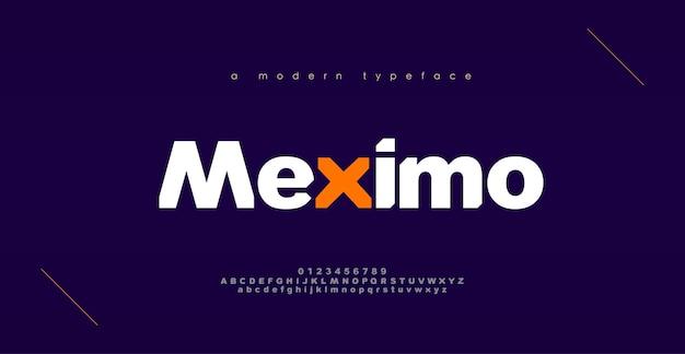 Абстрактные спортивные современные алфавитные шрифты. типографский смелый дизайн шрифта для спорта, технологий, моды, цифрового, будущего креативного шрифта логотипа.
