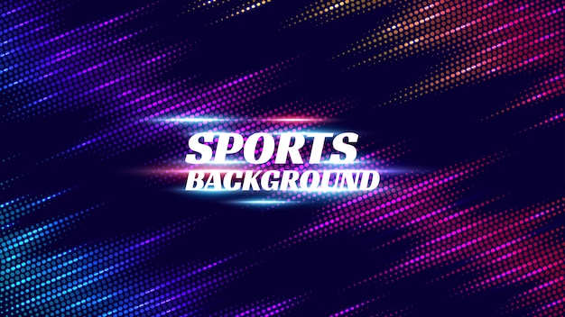 Abstract sports background with glowing lines.