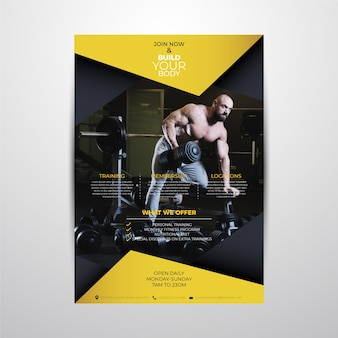 Modello astratto del manifesto di sport con l'immagine