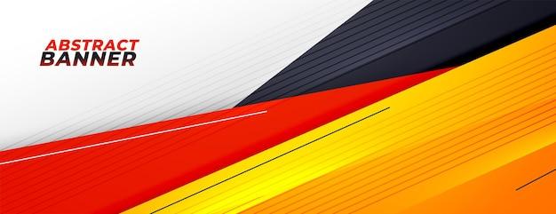 Banner di presentazione sportiva astratta con colori caldi