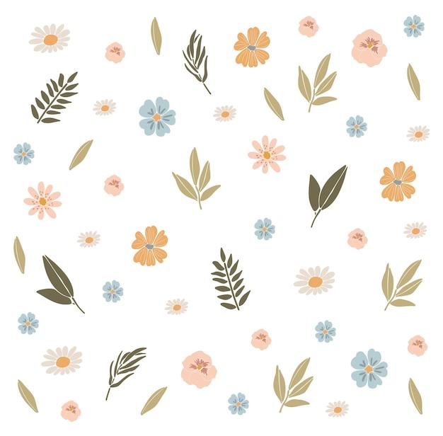 抽象的な春の花自由奔放に生きる花セット Premiumベクター