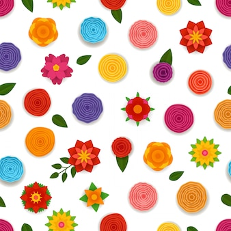 Abstract spring flowers seamless pattern.