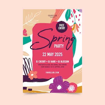 Abstract spring party flyer template theme