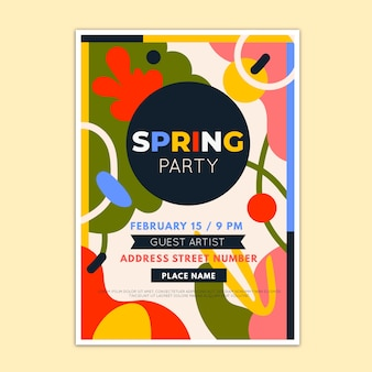 Abstract spring party flyer template