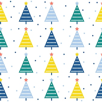 Abstract spruce forest seamless pattern background. childish art for design new year card, christmas wallpaper, winter gift album, scrapbook, holiday wrapping paper, textile, bag print, t shirt etc.